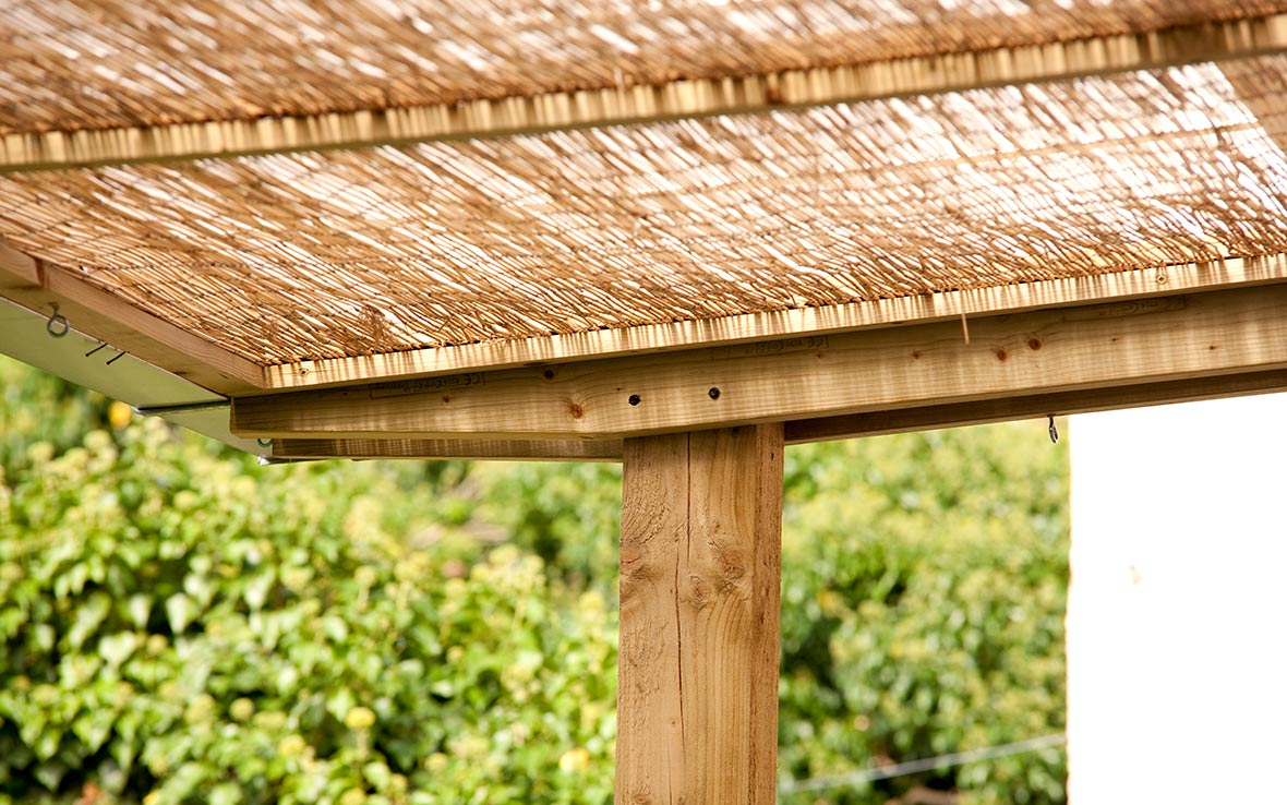 Reed matting roof gives shade