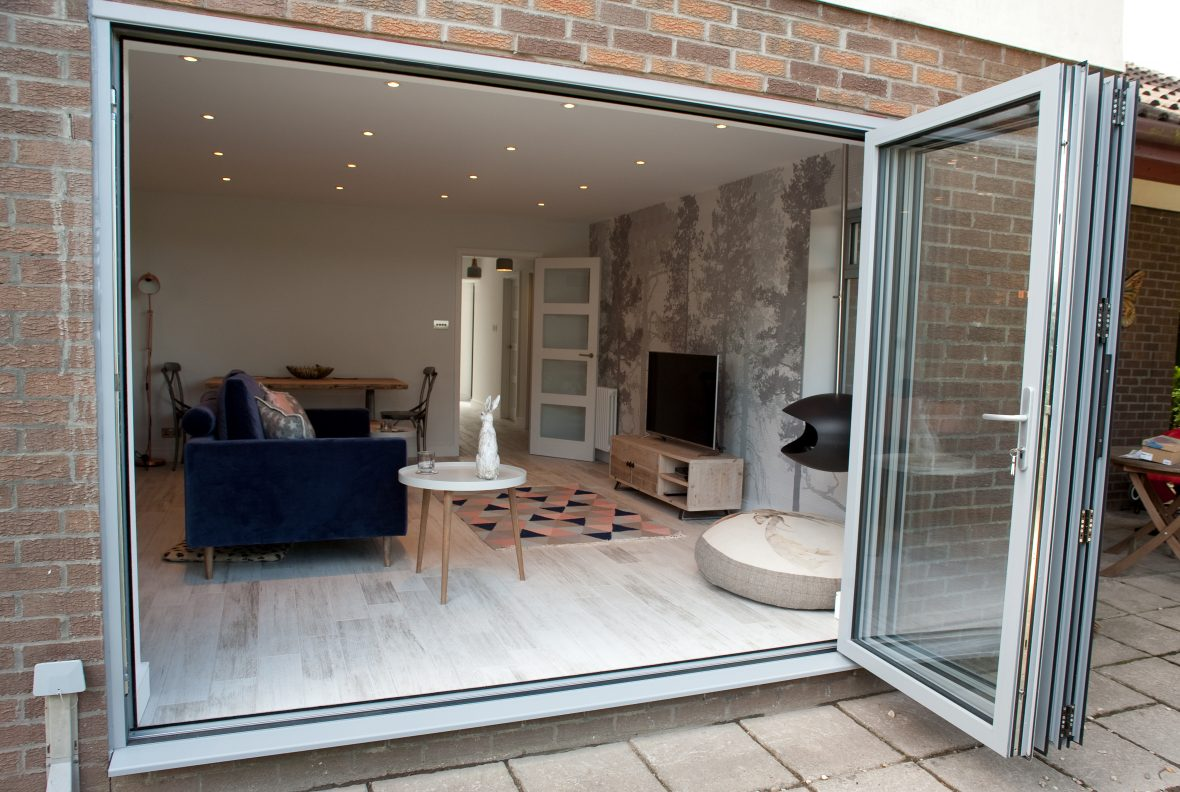 Rear of living room opened up for 3m bifolds to garden area