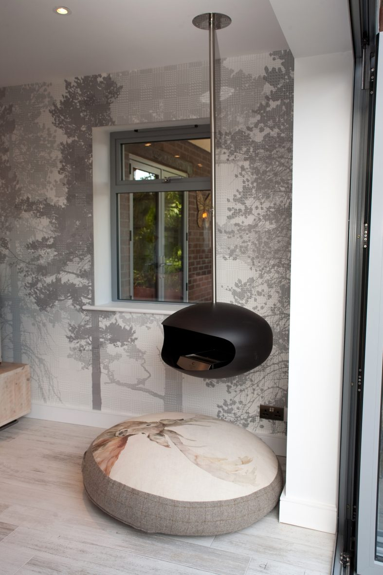 Cocoon Aeris hanging fireplace, uses ethanol-based biofuel