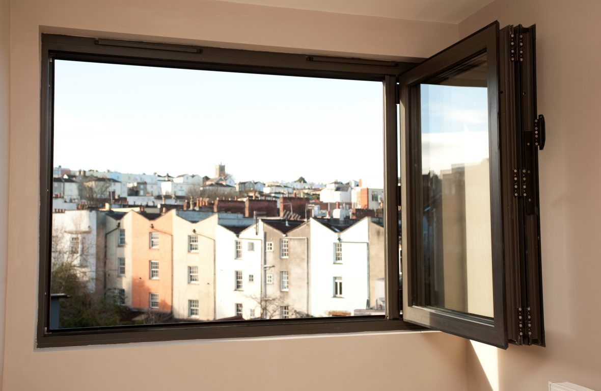 Bifold high-end Alutherm® powder-coated double-glazed window gives a view across Montpelier.